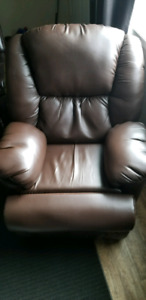 Power reclining leather chair
