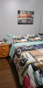 Retro Bedroom set. D/Q duvet cover,  lamp , canvas pics & nights