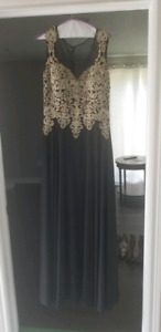 Black and Gold Embellished Gown