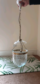 Beautiful vintage glass and brass ceiling light
