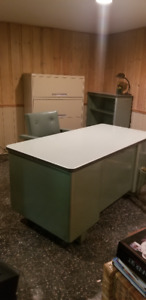 VINTAGE METAL DESK AND SHELVING AND FILING CABINETS