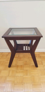 Square glass top wooden side table
