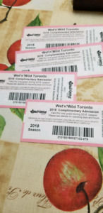 Wet and wild tickets set of 4 any time/day