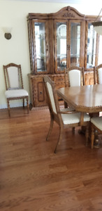 Dining room table, chairs, cabinet and hutch $500 OBO