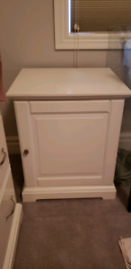 Two White Ikea side tables