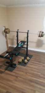Bench press. barbell, 2 dumbbells, 90 lbs in weights.