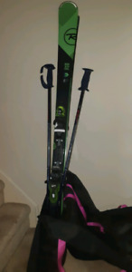 168cm Rossi skis+bindings, poles, bag, and size 10 Head boots