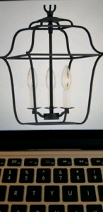 Black cage foyer pendant light