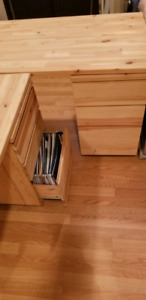 2 office desks with two file drawers all together