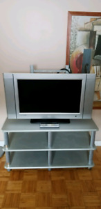 "27"" Flat screen tv with free tv swivel bracket and tv stand"