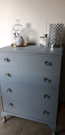 Lovely Grey Shabby Chic Upstyled Chest Drawers.