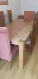 Oak/Marble Dining Table & 6 Chairs
