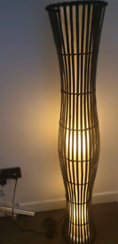 Floor standing light, black wicker