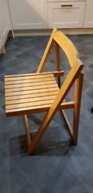 3 wooden foldable chairs