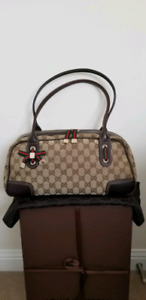 100% Authentic Gucci Bowling Bag in Brown Monogram Canvas
