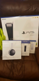 PS5 disc console with 3D pulse headset, charging dock & media remote