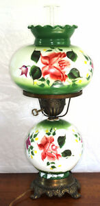 Antique Electrified Hand Painted Oil Lamp