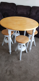 Wooden table and 4 stools
