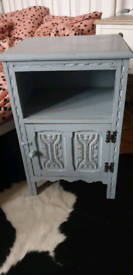 SHABBY CHIC DISTRESSED GREY PAINTED SOLID WOOD POT CUBPOARD BEDSIDE