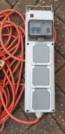 CAMPING ELECTRIC HOOKUP CABLE WITH SAFETY RCD BOX.