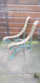 Vintage Garden Seat Ends. Very Heavy, And Sturdy.