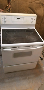 White glass cooktop stove
