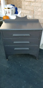 3 drawer antique dresser,very sturdy and on castors