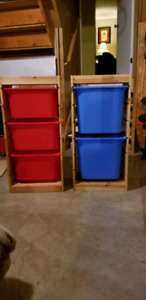 Wooden frames with plastic bins (IKEA)