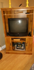 TV cabinet and working TV .