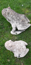 Pair of large & small Stone Frog Garden/ Pond Ornaments
