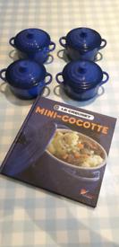 4 Le Creuset lidded ramekins with cookbook