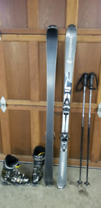ROSSIGNOL 160 skiis with SALOMON 26.5 boots and SCOTT poles