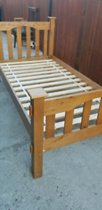 Single bed frame with mattress solid wood