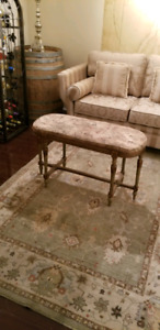 Vintage padded bench with original cushion
