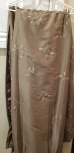 Taupe Pocket Rod Curtain Panels X2