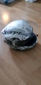 Casque moto blanc et noir pour femme small (petit) Scorpion Exo