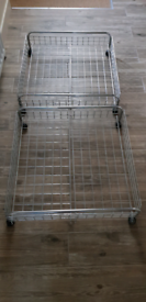 2 silver under bed storage trays on wheels