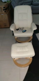 Cream Massage Easy chair with stool free local delivery