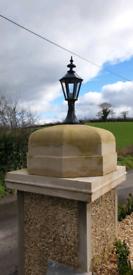 Cast aluminium pillar and garden lamps