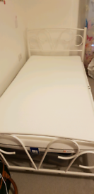Single bed white metal with mattress