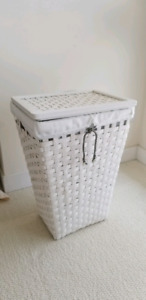 White basket. Great for storage or laundry.