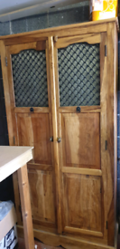 Sheesham rosewood Indian large cabinet/armoire and smaller cabinet