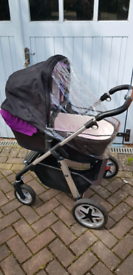 Silver Cross Wayfarer travel system in plum plus car seat and iso-fix base