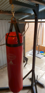 Jim Bradley Boxing Bag, Bag Stand and Boxing Gloves Combo