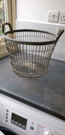Metal basket, galvanised, useful for logs, apples, etc vintage