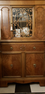Antique China Cabinet for Sale on Iron Coaster Legs