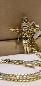 Angel pendant and 14k Italian solid gold chain