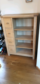 Oak Bookcase with 4 drawers.