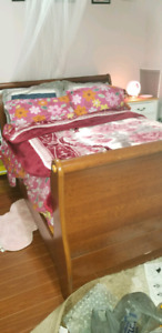 DOUBLE SLEIGH BED - GOOD CONDITION- PRICE NEGOTIABLE