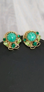 Vintage 1960s Crystal And Bead Clip  Earrings.
